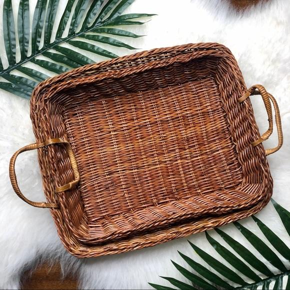 2 vintage boho wicker serving tray baskets